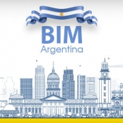 A ilustracao mostra os principais edificios da argentina junto com o logotipo do bim