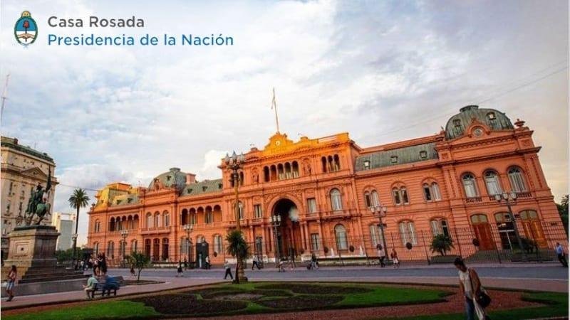 A foto mostra a casa rosada sede da presidencia argentina