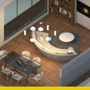 A imagem mostra um projeto de sala de estar