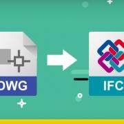 A imagem mostra a exportacao de um arquivo DWG para o formato de arquivo IFC