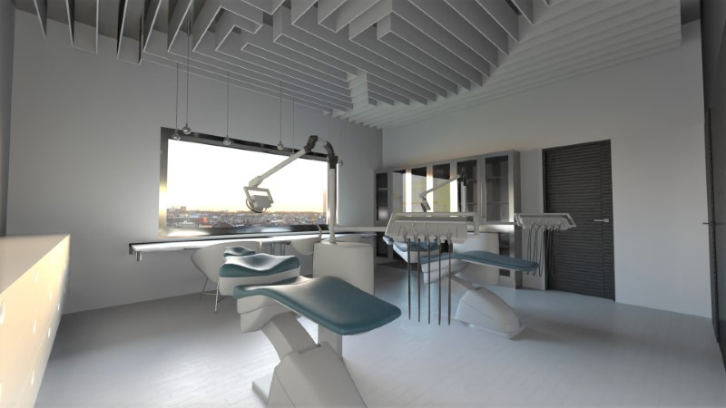 A imagem mostra um consultorio dentro de uma clinica odontologica