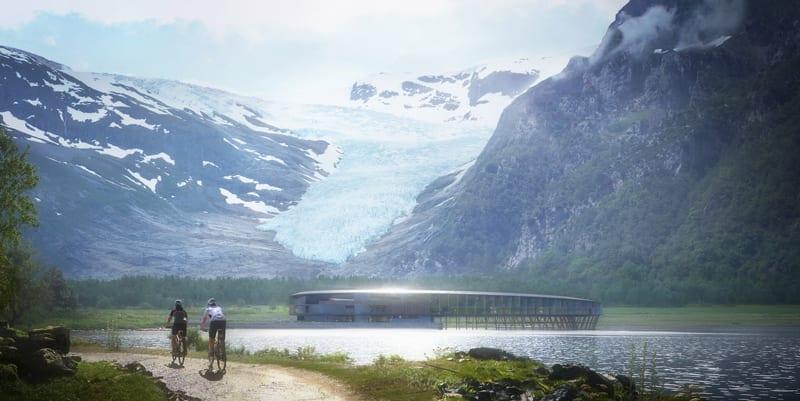 A imagem mostra o hotel noruegues Svart na natureza