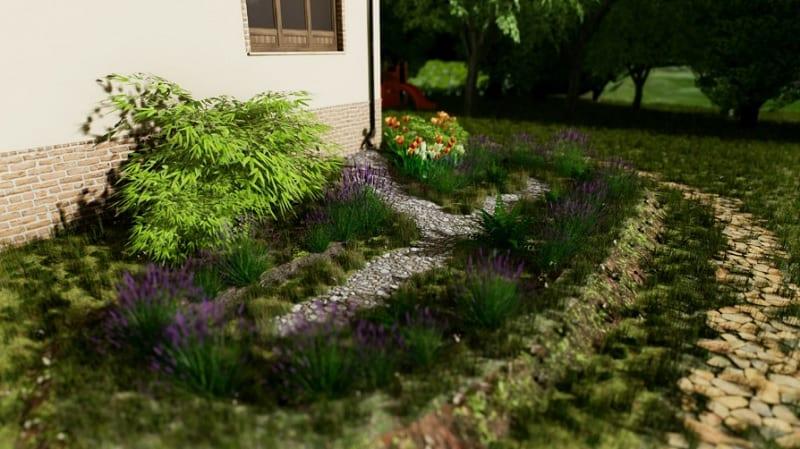 A imagem mostra um pequeno jardim de chuva urbano