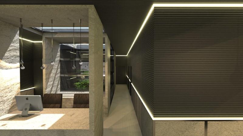A imagem mostra um render de corredor realizado com Edificius, software para projeto arquitetônico BIM