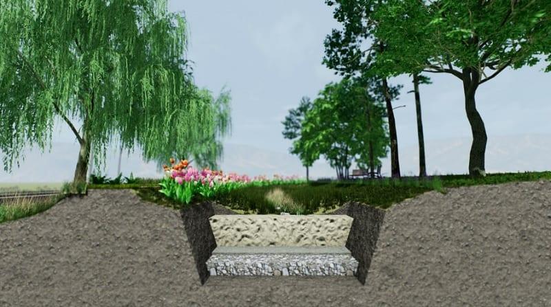 A imagem mostra o projeto de um jardim de chuva complexo
