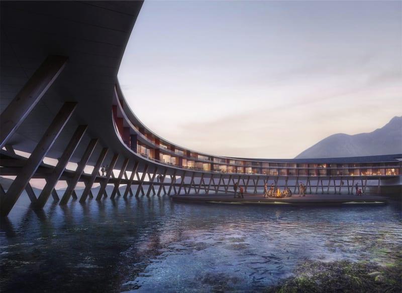 A imagem mostra o hotel Svart suspenso na agua