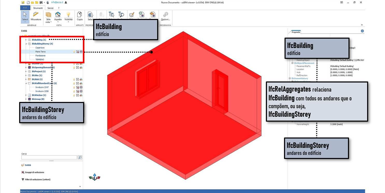 A tela dentro do software usBIMviewer mostra a relacao entre todos os andares do edificio