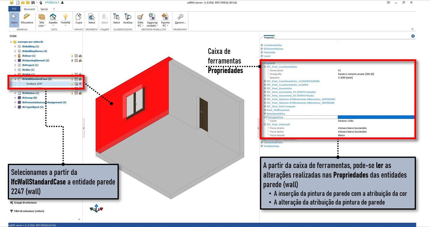 A imagem mostra uma tela do software usBIMviewer para a visualizacao de arquivos IFC
