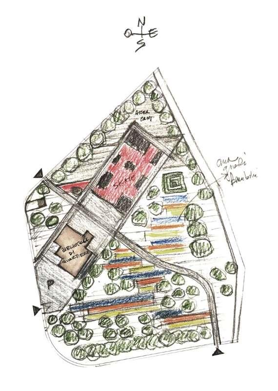 O desenho mostra o esquema da organizacao funcional do parque urbano