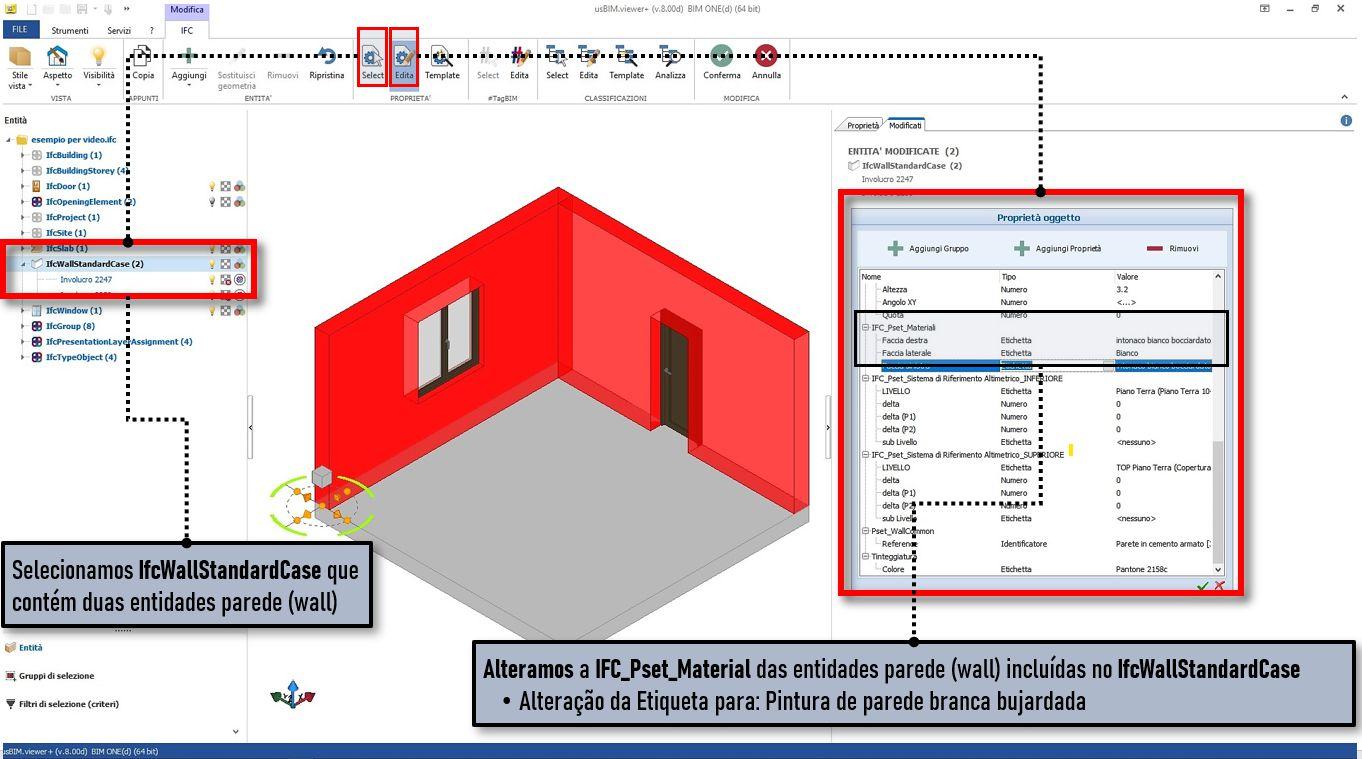 A imagem mostra uma tela do software usBIMviewer na qual pode se alterar uma propriedade da entidade parede
