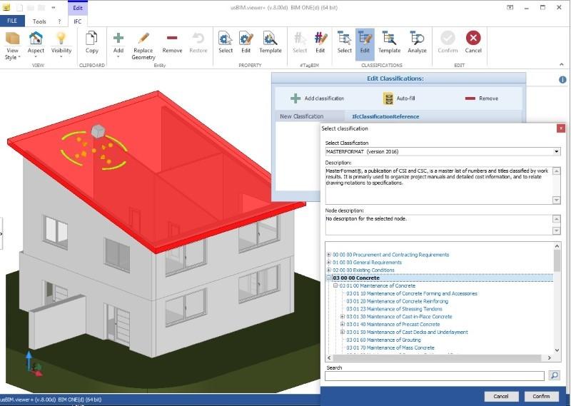 A imagem ilustra o conceito de IFC e sistema de classificacao MasterFormat em usBIM.viewer+