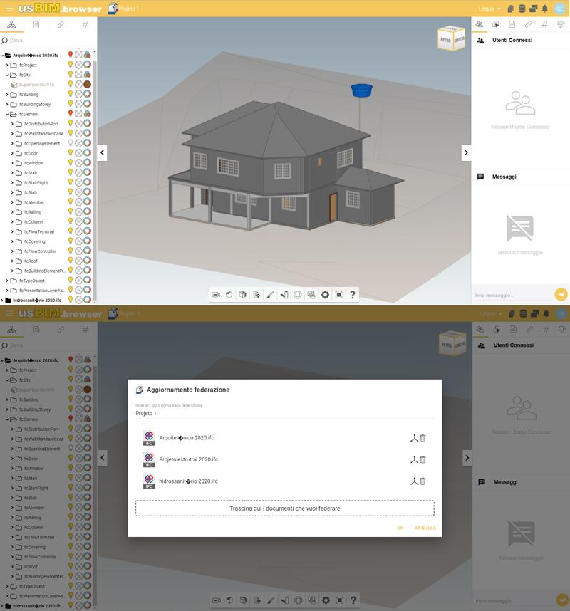 A imagem mostra duas telas de usBIM.platform referentes a federacao de modelos no Projeto GEBIM 2019.3 (UFJF)