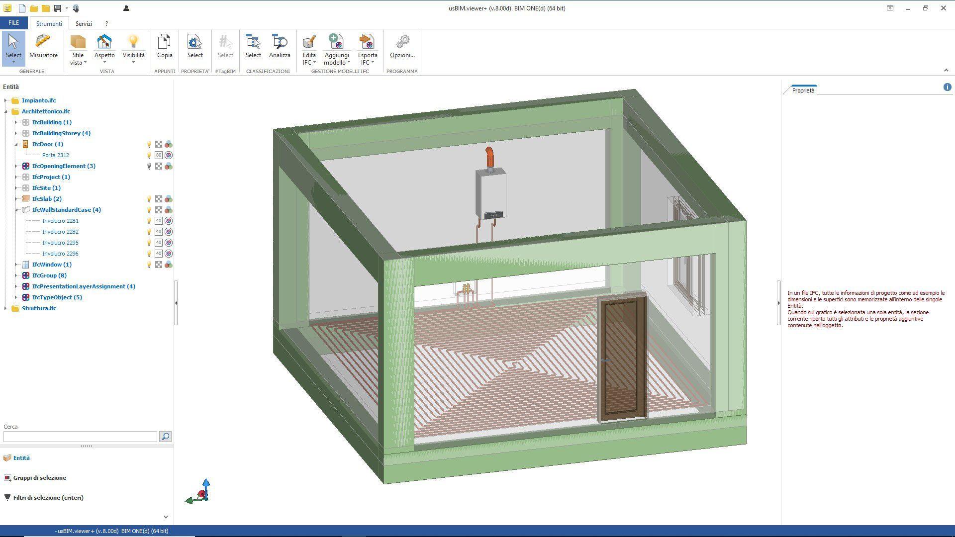 A tela dentro do software usBIM.viewer+ mostra a federacao dos modelos arquitetonico, estrutural e de instalacoes mep