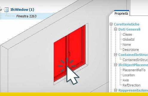 A imagem mostra a tela do programa usBIM.viewer+ para definir um objecto IFC