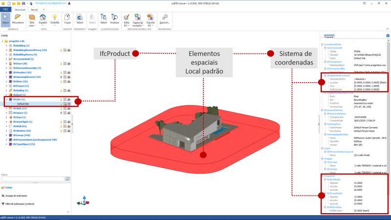 A imagem mostra a interface de usBIM.viewer+ referente ao IFC coordinate system