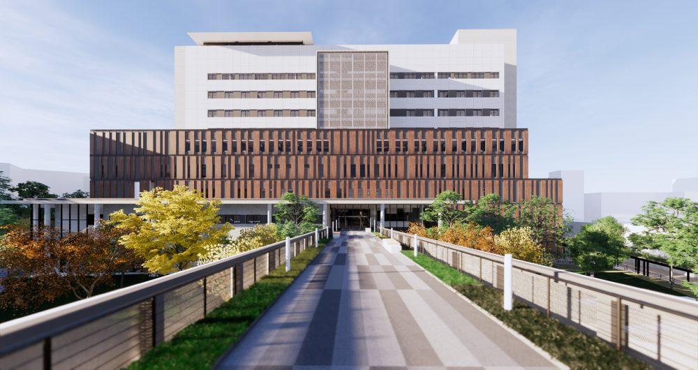 A renderizacao mostra a fachada do Instituto de Cardiologia em Sao Jose realizado com tecnologia BIM em Santa Catarina