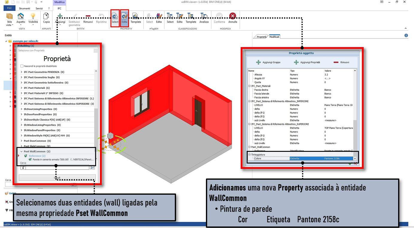 A imagem mostra uma tela do software usBIMviewer na qual pode se adicionar uma propriedade para uma entidade