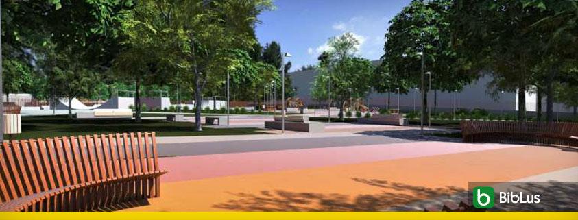 A renderizacao mostra um parque urbano