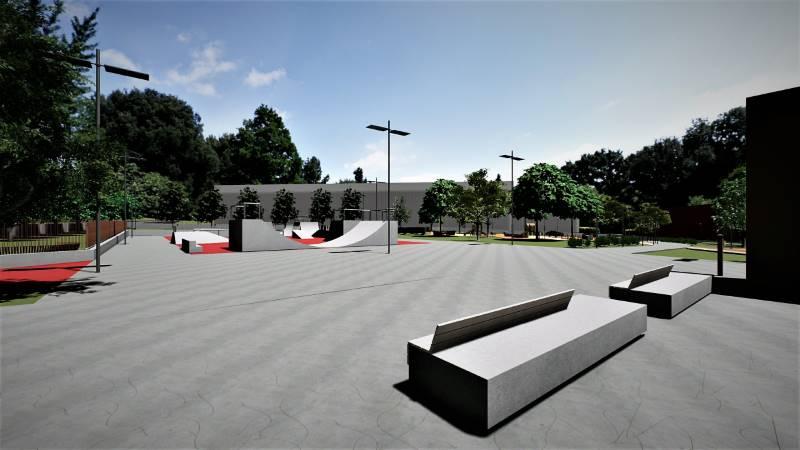 A renderizacao mostra a praca central do parque entre o parque de skate e a biblioteca
