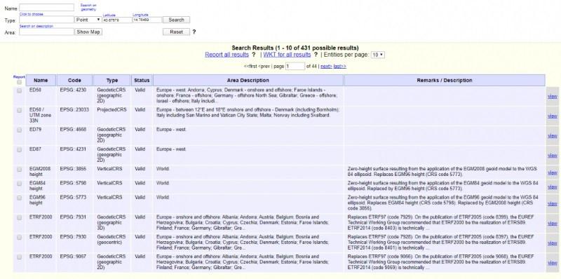 A imagem mostra uma tela referente ao servico online EPSG