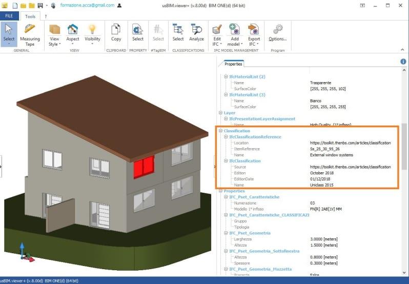 A imagem ilustra o conceito de IFC e sistemas de classificacao das entidades com o software usBIM.viewer+