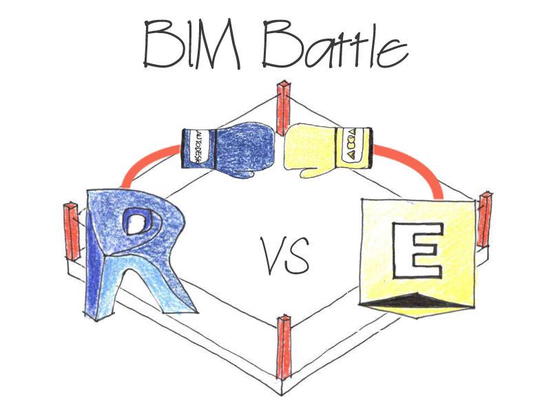 A imagem mostra o logotipo da BIM Battle francesa com dois softwares BIM