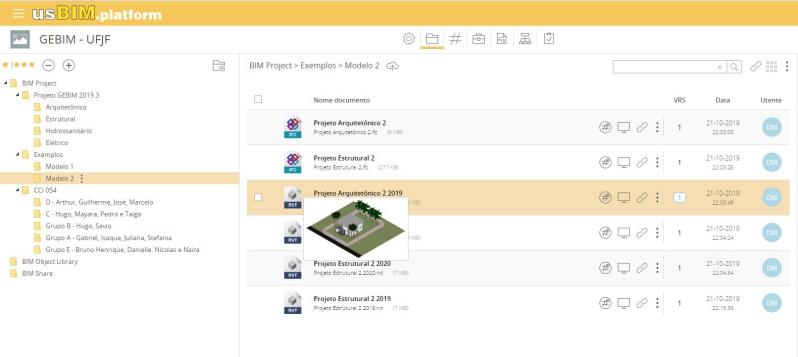 A imagem mostra a interface de usBIM.platform