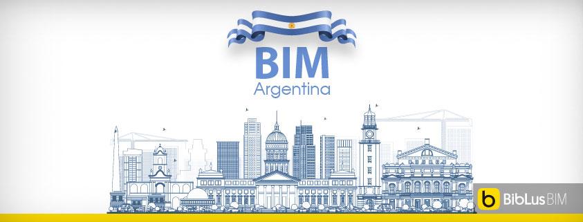 A imagem mostra a skyline argentina junta com a escrita BIM Argentina