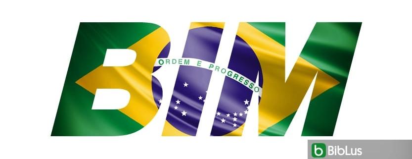 A imagem mostra a escrita BIM decorada com as cores da bandeira brasileira