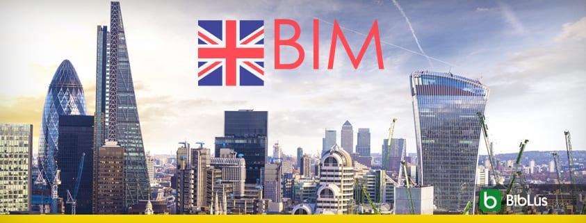 A imagem mostra a skyline londrina junta com a bandeira inglesa e a escrita BIM