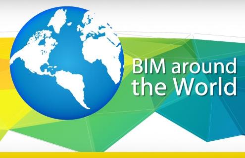 A imagem mostra um globo e a escrita BIM around the World