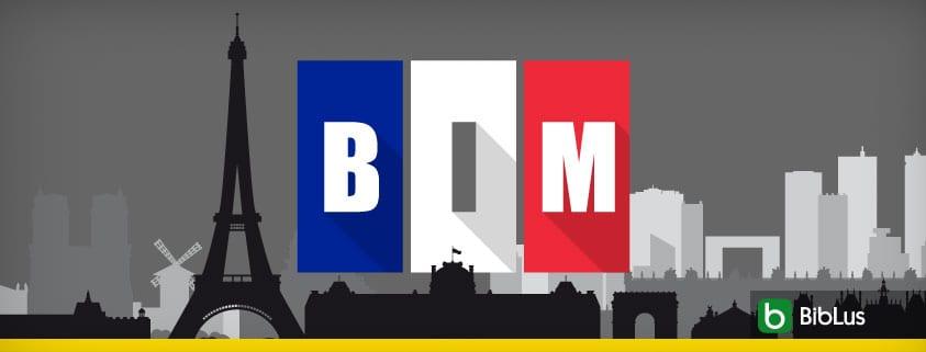 A imagem mostra a skyline francesa e a escrita BIM decorada com as cores da bandeira francesa