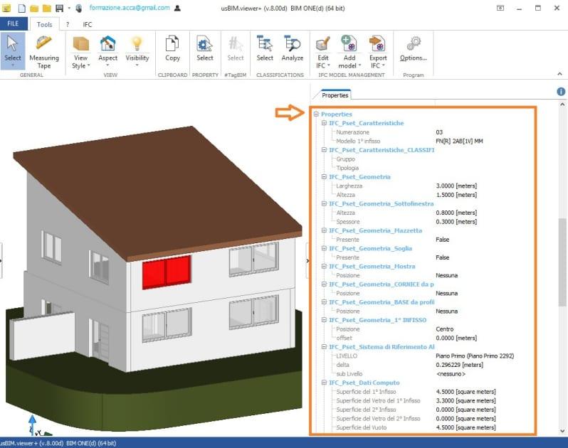 A imagem mostra uma janela realcada de amarelo acima de uma casa branca e a caixa das IfcPropertySet com usBIM.viewer+