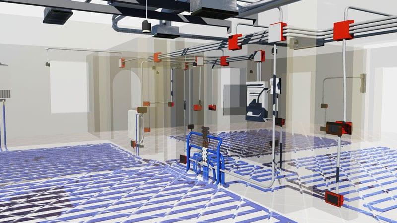A imagem mostra um projeto de instalacoes realizado com o software Edificius MEP da ACCA