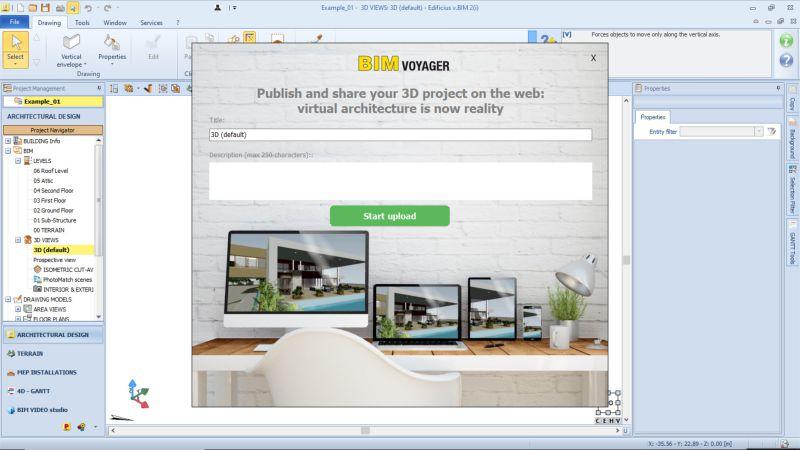 A imagem mostra a interface de BIM VOYAGER a plataforma para compartilhar e apresentar os proprios projetos a distancia