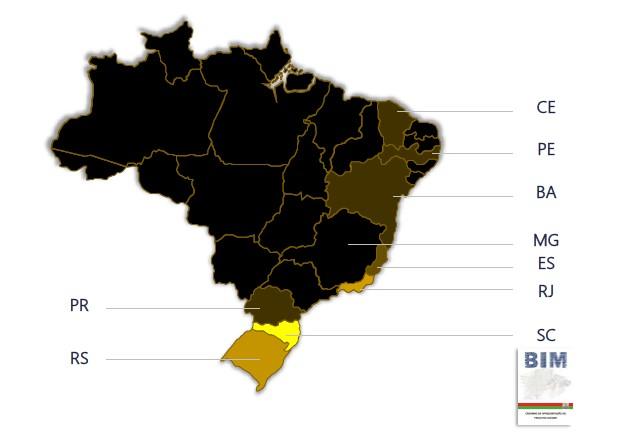 A imagem mostra um mapa do Brasil com os estados em que o BIM e mais utilizados realcados em amarelo