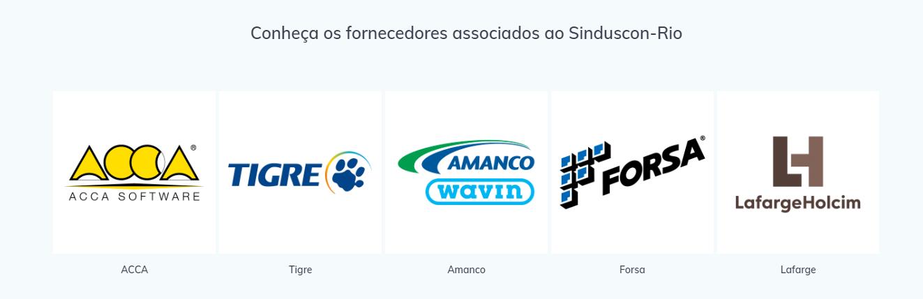 A imagem mostra a tela do site do Sinduscon com o logotipo da ACCA entre os fornecedores associados