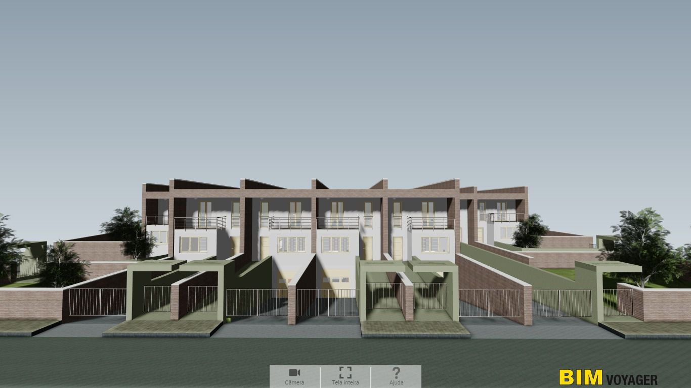 A imagem mostra o modelo das casas geminadas com BIM VOYAGER o software para apresentar projeto a distancia