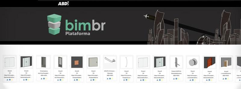 A imagem mostra uma tela da Plataforma BIM BR com os objetos da Biblioteca Objetos BIM do Edificius