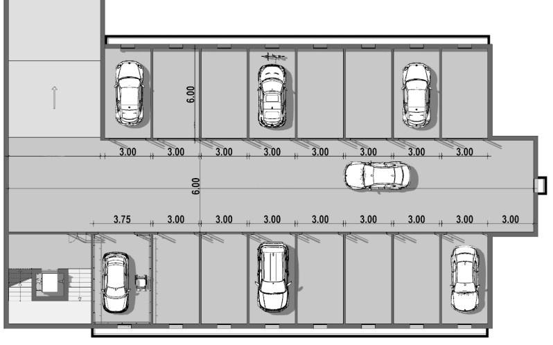 A imagem mostra a planta de uma garagem subterranea