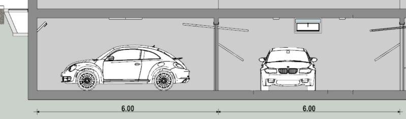 A imagem mostra a corte transversal de um projeto de garagem