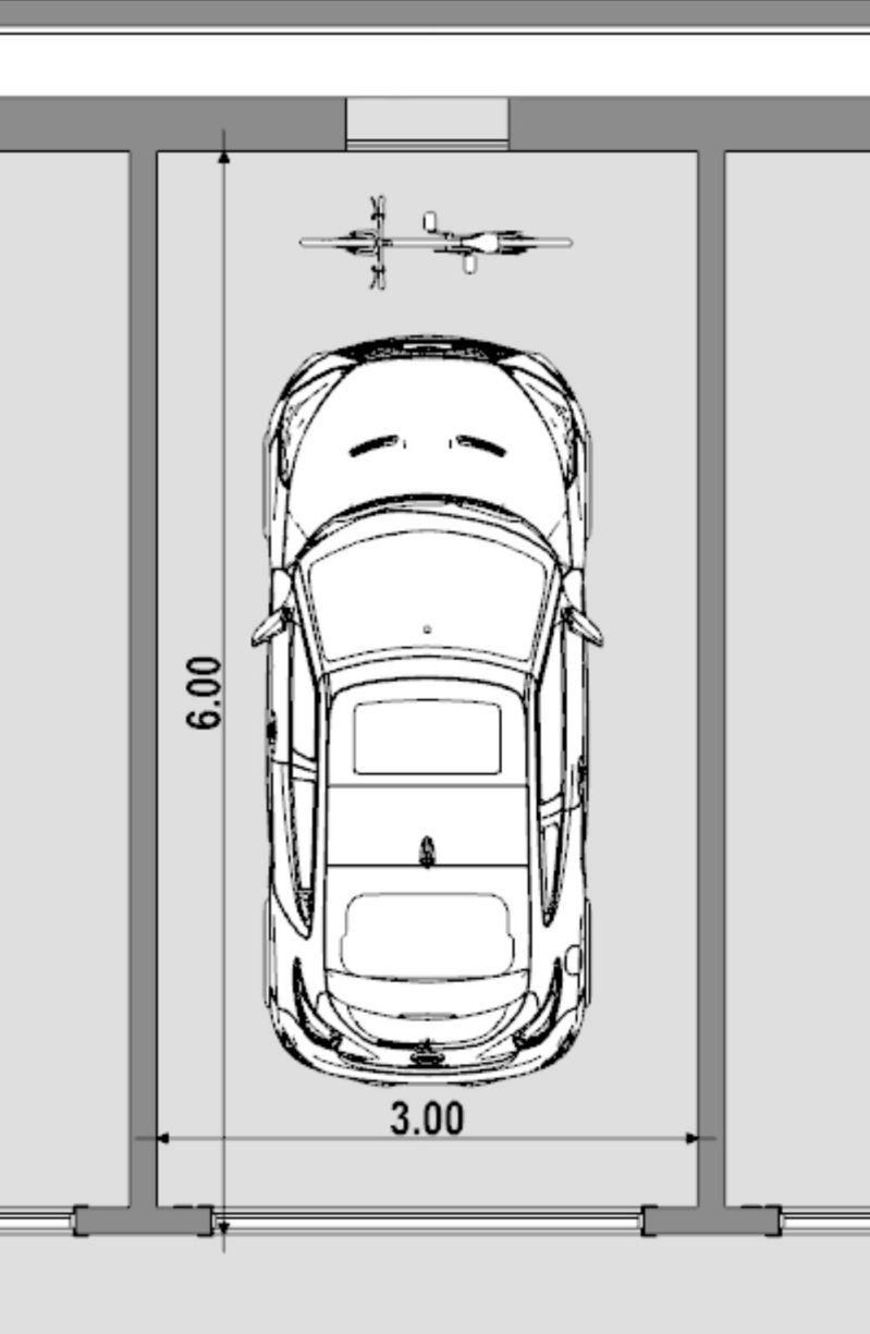 A imagem mostra a planta de uma vaga de estacionamento individual padrao