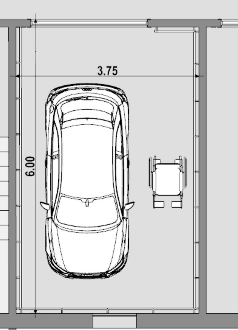 A imagem mostra a planta de uma vaga de estacionamento para pessoas deficientes com as dimensoes conforme normas de referencia