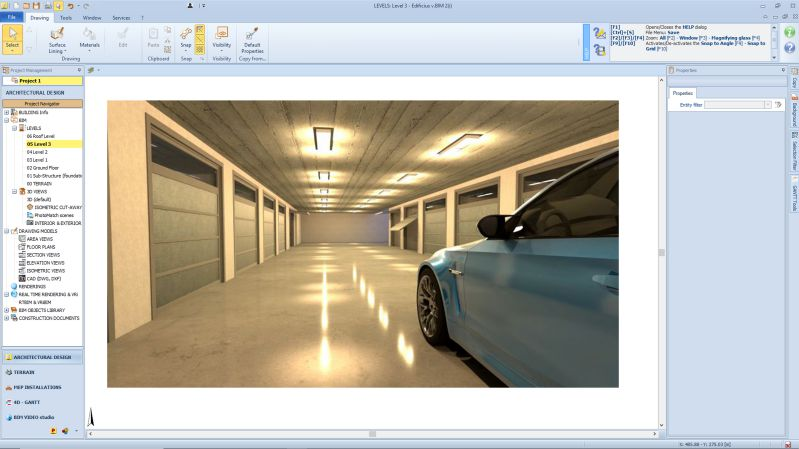 A renderizacao mostra os interiores do projeto de uma garagem