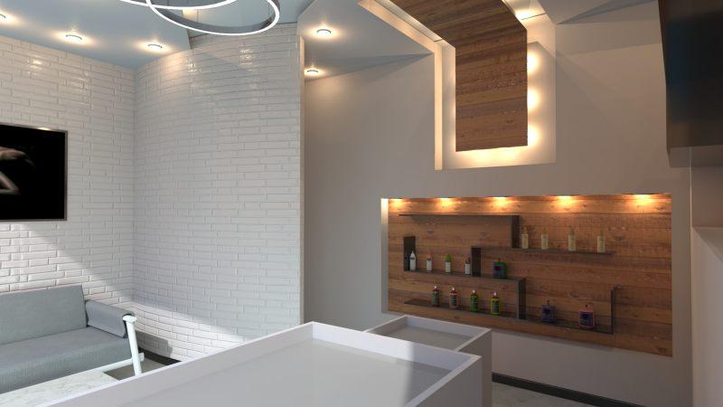 A imagem mostra um render da sala de espera de um salao de beleza realizado com Edificius