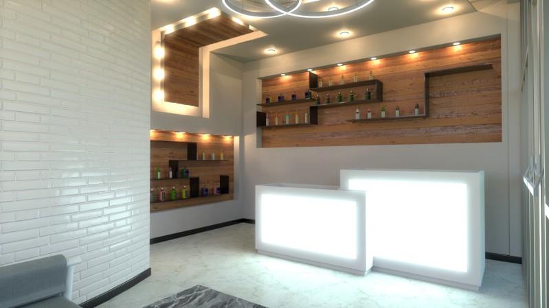 A imagem mostra o lado do render da sala de espera realizado com Edificius