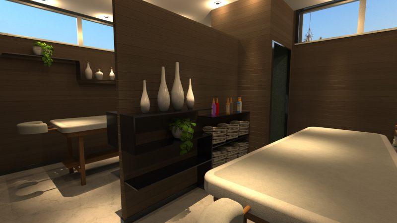 A imagem mostra o render de uma sala para massagens em um salao de beleza realizado com Edificius