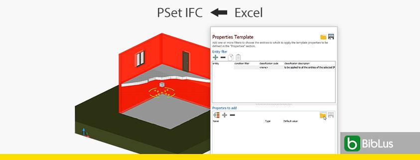 A imagem mostra a tela do software usBIM.viewer+ com o template IfcPropertySet