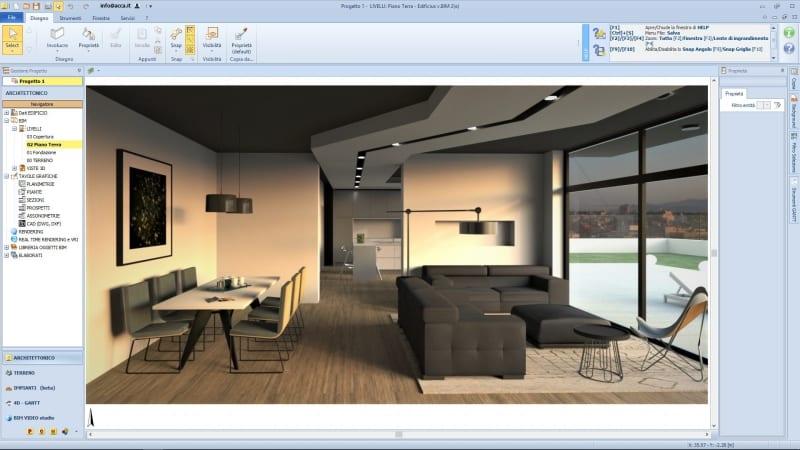 A imagem mostra o render de uma sala de estar realizado com Edificius, o software BIM para arquitetura