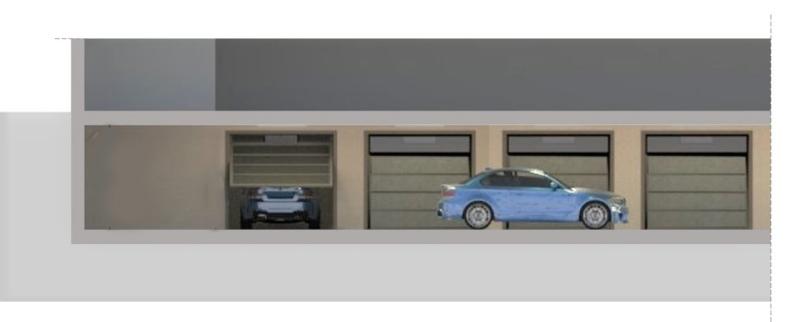 A imagem mostra a corte transversal de uma garagem subterranea